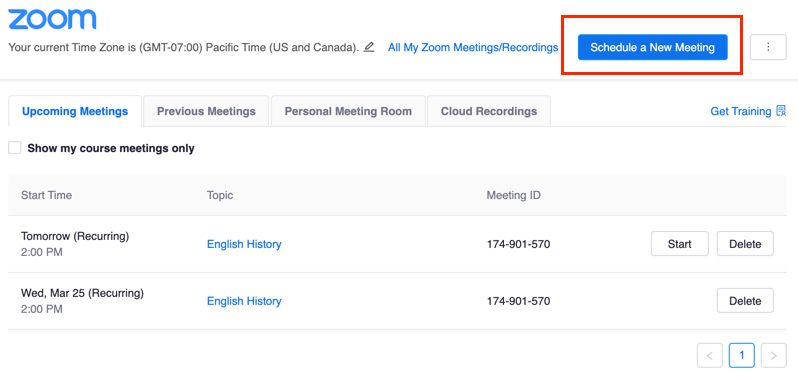 Schedule a New Meeting button highlighted in the Zoom app in Canvas interface