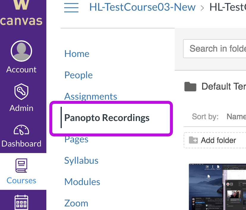 Panopto Recordings in Canvas