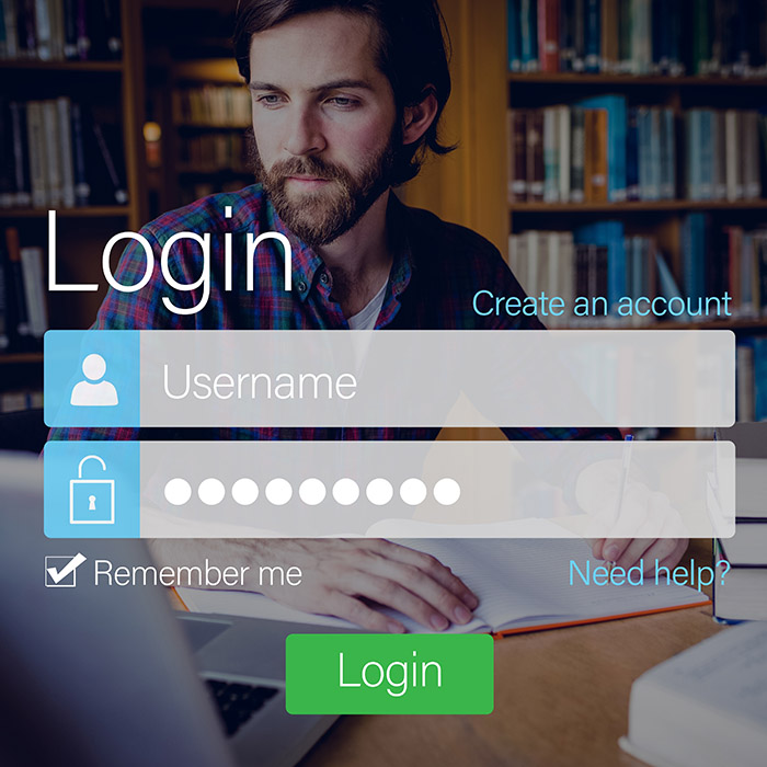 Login screen with man in library and laptop