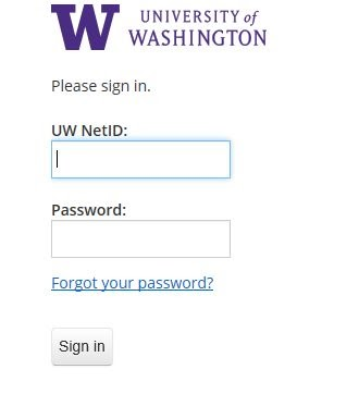 UW web login dialog box