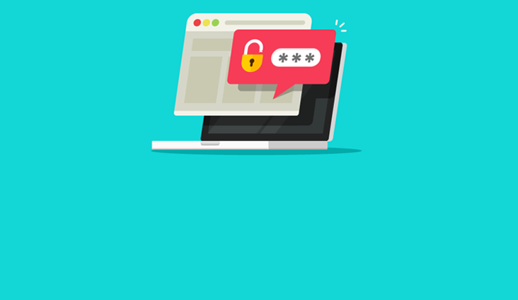Animated image of a computer with a password prompt.