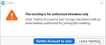 Error message seen by user when trying to sign into UW Zoom meeting using personal email and password