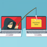 Thief on one laptop screen uses a phishing hook to snag personal data on another laptop screen
