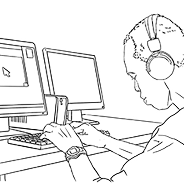 Line drawing of man working at a computer