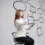 Businesswoman drawing flowchart,