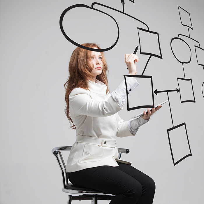 Businesswoman drawing flowchart,