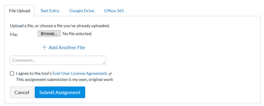 SimCheck consent in assignment submission interface