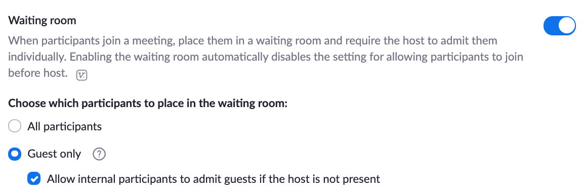 zoom configuration settings for waiting room