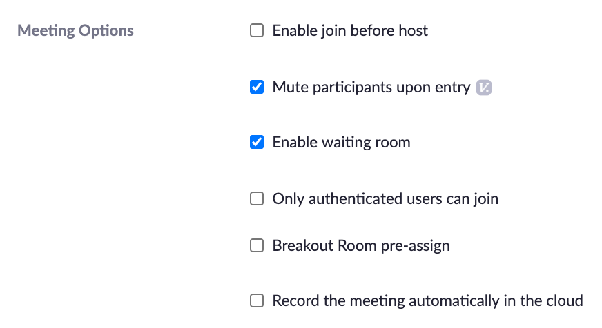 Individual meeting settings