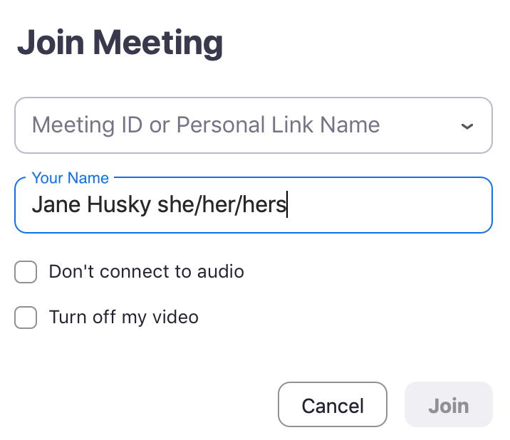 Join Meeting interface with sample text entered in the Your Name field