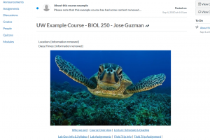 Image of course home page for Biol 250.