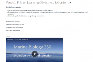 Screen capture of course week 1 page with embedded pre-recorded lecture video in Panopto.