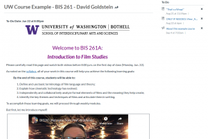Screen capture of page with instructor intro video
