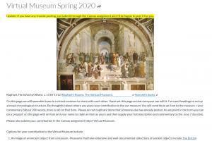 screencapture of virtual museum project