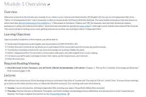 screencapture of module 1 overview page with learning objectives, reading, lectures for the module.