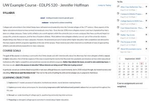 screencapture of syllabus page