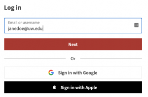 """Email field with mock UW email address shown and the """"Next"""" button"""