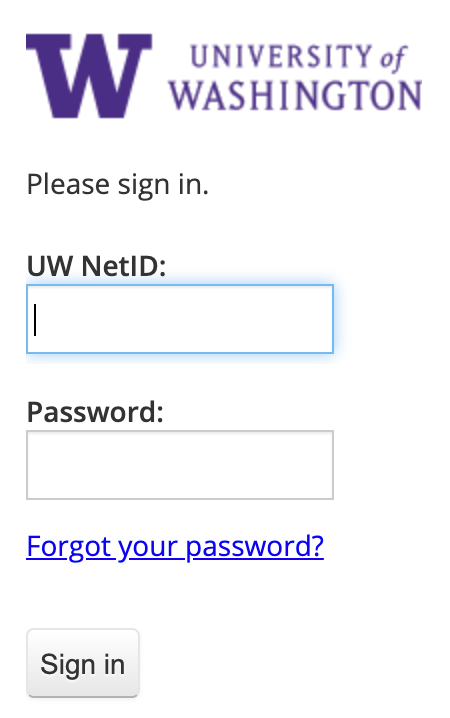UW sign-in interface
