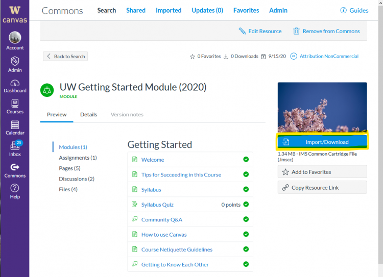 Screencapture of the details of Getting Started Module in Canvas Commons.