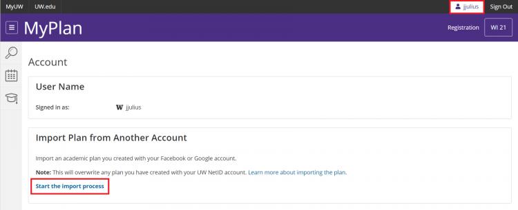 MyPlan account settings - import plan