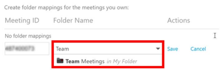 Screen shot: select folder