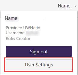 User settings button screenshot