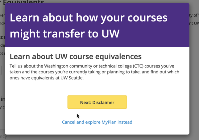 Screenshot of Learn more about UW course equivalences popup