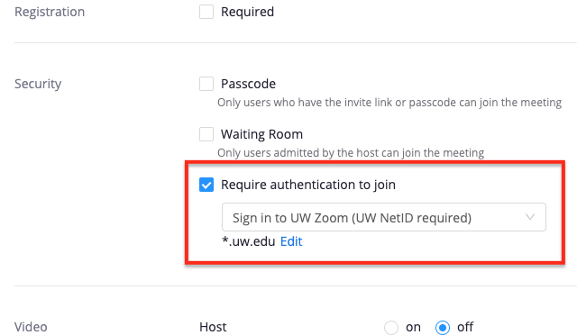 """Security options interface: """"Only authenticated users can join"""" option is selected"""