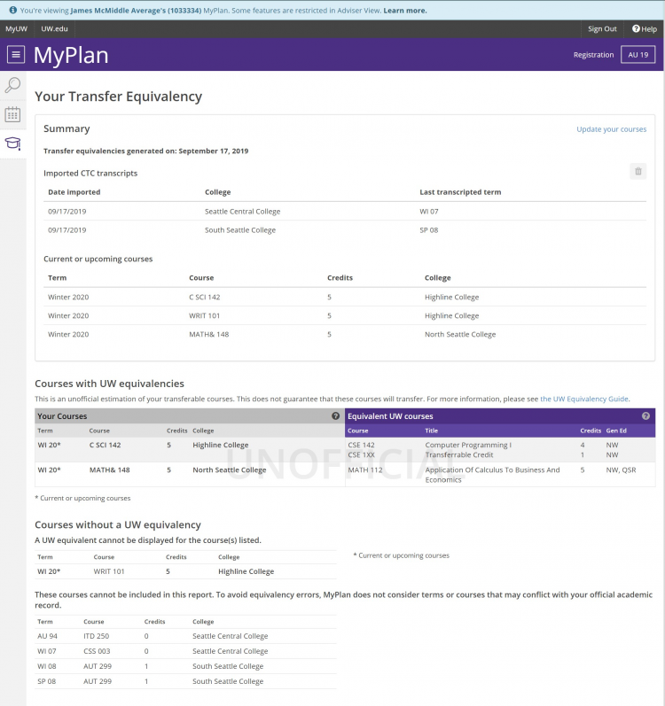 Screenshot of transfer equivalency report in adviser view