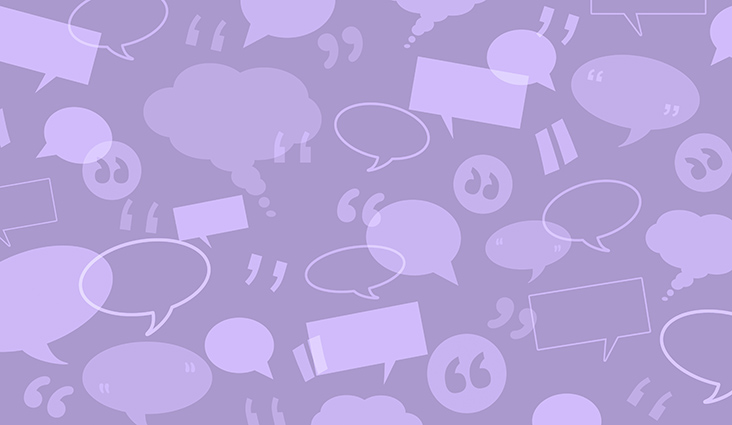 Animated background of quotes, text bubbles and speech bubbles.