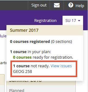 Screenshot of registration issues dropdown