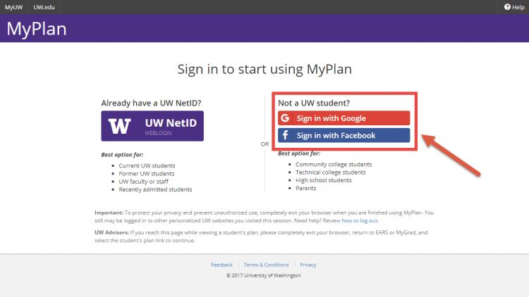 Screenshot of MyPlan social login
