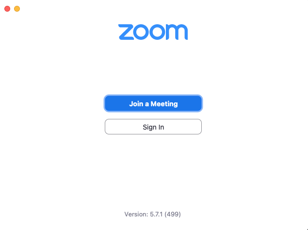 Zoom software sign in screen