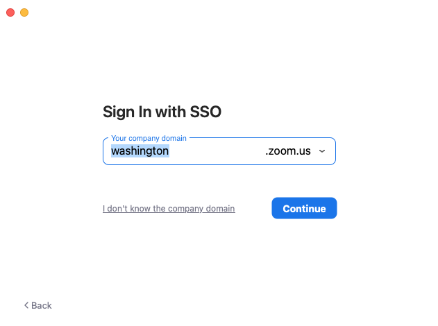 Sign In with SSO screen on Zoom software. Type washington in the company domain field and press Continue.