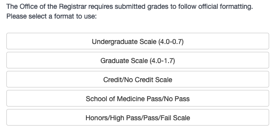 Screenshot of the grade scale options for the conversion calculator