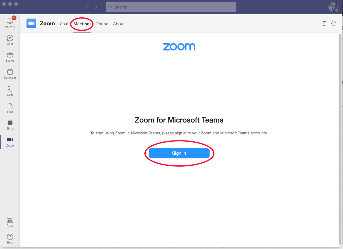 Image showing Meeting and Sign in button within Zoom app interface