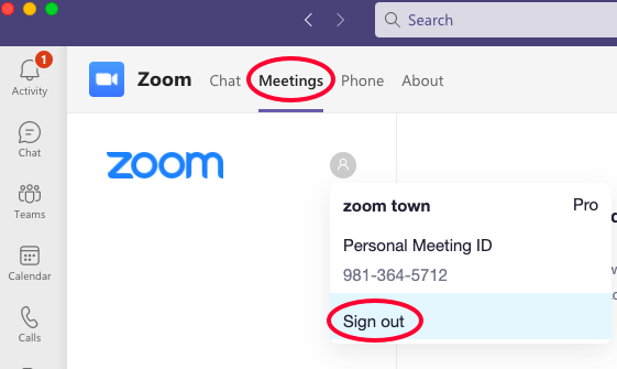 Image showing Meetings and Sign out in the user interface