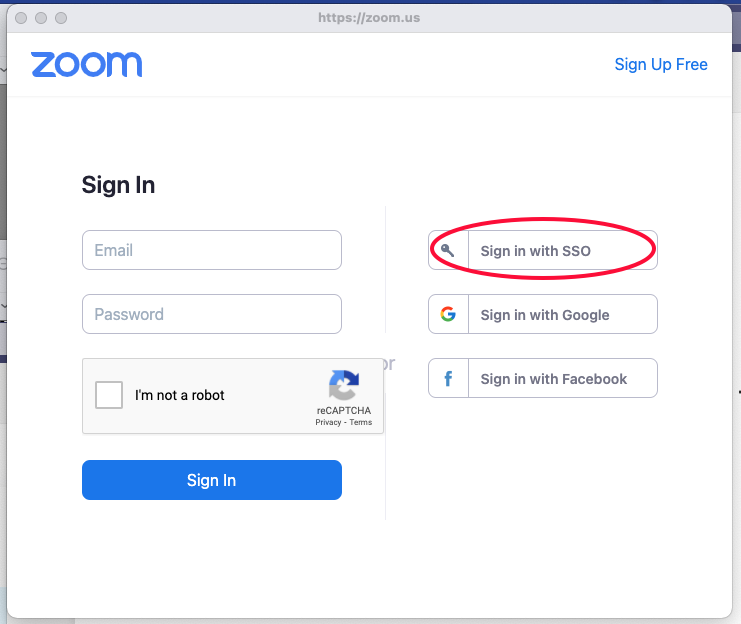 Image of Zoom interface with Sign in with SSO option highlighted