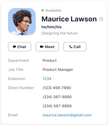 Profile card where pronouns appear