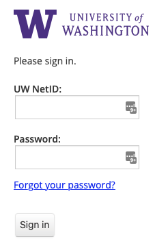 UW sign in interface
