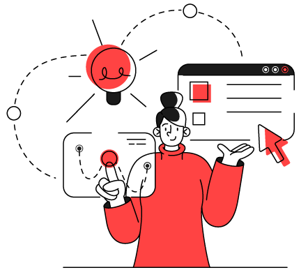 Animated image of a person doing UX work.